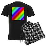 Rainbow Stripes Pattern Men's Dark Pajamas