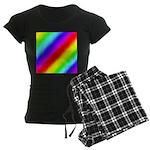 Rainbow Stripes Pattern Women's Dark Pajamas