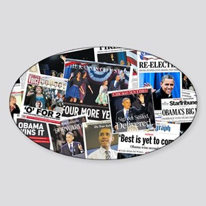Barack Obama 2012 Re-Election Collage Sticker (Ova