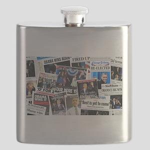 Barack Obama 2012 Re-Election Collage Flask