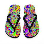 Rainbow Oil Psychedelic Pattern Flip Flops