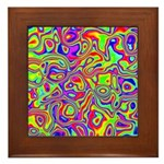 Rainbow Oil Psychedelic Pattern Framed Tile