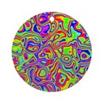 Rainbow Oil Psychedelic Pattern Ornament (Round)