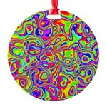 Rainbow Oil Psychedelic Pattern Round Ornament