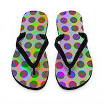 Psychedelic Rainbow Spots Pattern Flip Flops