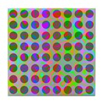 Psychedelic Rainbow Spots Pattern Tile Coaster