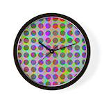Psychedelic Rainbow Spots Pattern Wall Clock