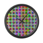 Psychedelic Rainbow Spots Pattern Large Wall Clock
