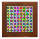 Psychedelic Rainbow Spots Pattern Framed Tile