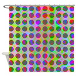 Psychedelic Rainbow Spots Pattern Shower Curtain