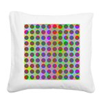 Psychedelic Rainbow Spots Pattern Square Canvas Pi