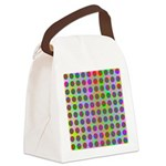 Psychedelic Rainbow Spots Pattern Canvas Lunch Bag