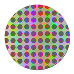 Psychedelic Rainbow Spots Pattern Round Car Magnet