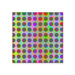 Psychedelic Rainbow Spots Pattern Square Sticker 3