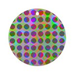 Psychedelic Rainbow Spots Pattern Ornament (Round)