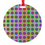 Psychedelic Rainbow Spots Pattern Round Ornament