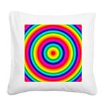 Rainbow Circles Pattern Square Canvas Pillow