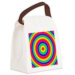 Rainbow Circles Pattern Canvas Lunch Bag