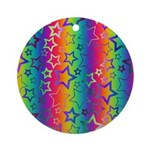 Rainbow Stars Pattern Ornament (Round)