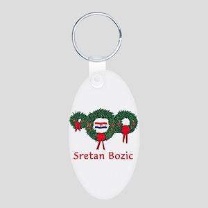 Croatia Christmas 2 Aluminum Oval Keychain