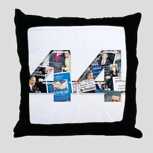 44: Obama Inauguration Newspaper Throw Pillow