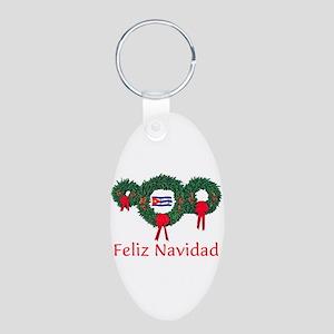 Cuba Christmas 2 Aluminum Oval Keychain