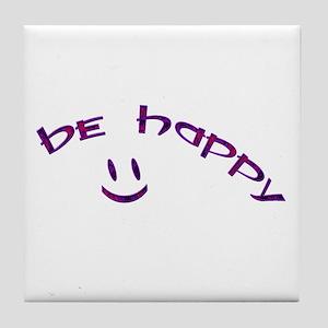 Be Happy Smiley - Purple Tile Coaster