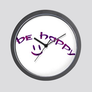 Be Happy Smiley - Purple Wall Clock