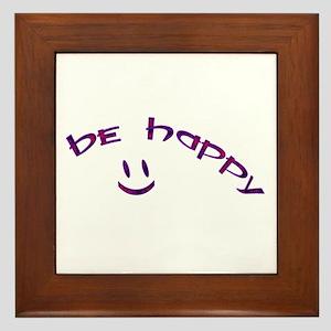 Be Happy Smiley - Purple Framed Tile