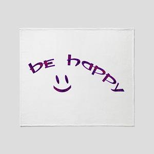 Be Happy Smiley - Purple Throw Blanket