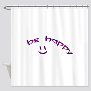 Be Happy Smiley - Purple Shower Curtain