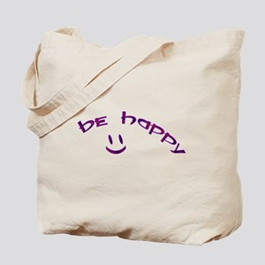 Be Happy Smiley - Purple Tote Bag