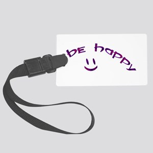 Be Happy Smiley - Purple Large Luggage Tag