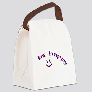 Be Happy Smiley - Purple Canvas Lunch Bag