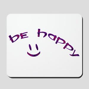 Be Happy Smiley - Purple Mousepad