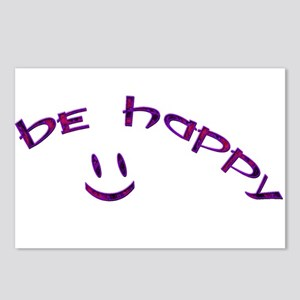 Be Happy Smiley - Purple Postcards (Package of 8)