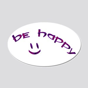 Be Happy Smiley - Purple 20x12 Oval Wall Decal