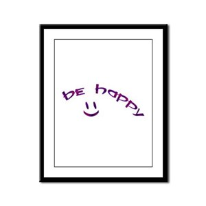 Be Happy Smiley - Purple Framed Panel Print