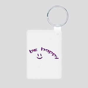 Be Happy Smiley - Purple Aluminum Photo Keychain