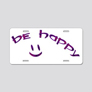 Be Happy Smiley - Purple Aluminum License Plate