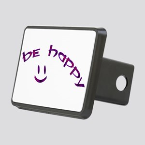 Be Happy Smiley - Purple Rectangular Hitch Cover