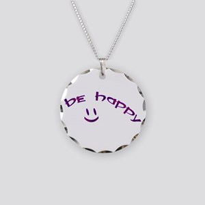 Be Happy Smiley - Purple Necklace Circle Charm