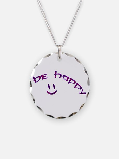 Be Happy Smiley - Purple Necklace