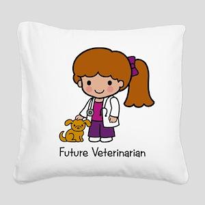 Future Veterinarian Girl Square Canvas Pillow