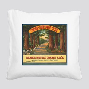 Yosemite Fruit Crate Label Square Canvas Pillow