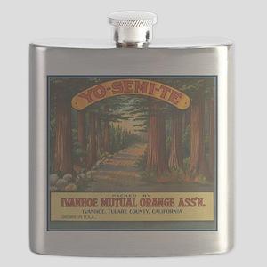 Yosemite Fruit Crate Label Flask