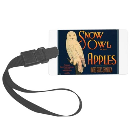 Snow Owl Apples Fruit Crate Large Luggage Tag