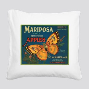 Mariposa Butterfly Fruit Crat Square Canvas Pillow