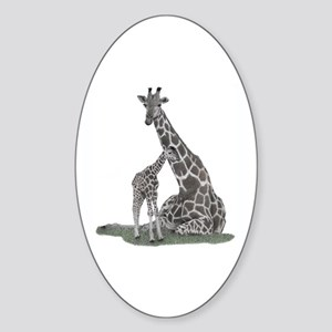 Giraffe Family Sticker (Oval)