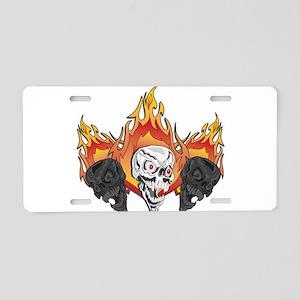 Flaming Skulls Aluminum License Plate